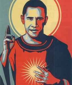 Jésus et Obama, même combat, dit Nadège (une peinture de Michael D'Antuono).